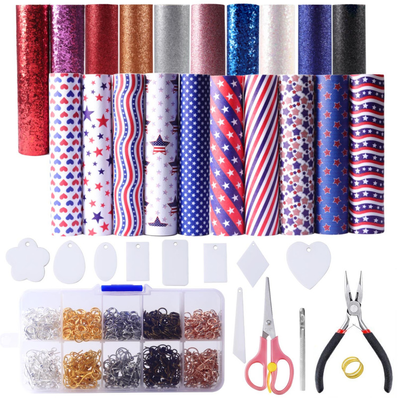DIY Earrings Homemade PU Material Set Flag Pattern Leather Earring Material Colorful Glitter Sequin DIY Template Kit Toolkit