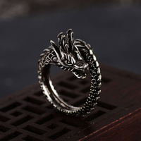 2019 New Style Hot Sales Retro Chinese style Ring Shape Men's Faux Alloy Ring Nation Jewelry Dragon