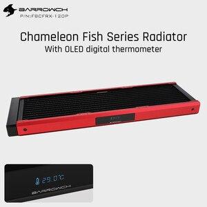Barrowch radiador modular de FBCFRX-360 mm, peixe camaleão 360mm com visor oled acrílico/pom, módulo de entrada adequado para 120mm ventilador
