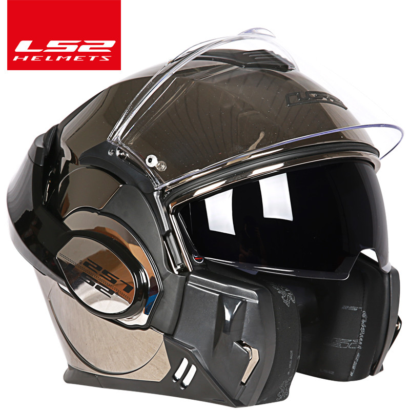 Image 3 - Original LS2 FF399 flip up motorcycle helmet dual visor authentic LS2 Valiant full face helmets moto capacete cascosmotorcycle helmet flipmotorcycle helmet flip updual visor -