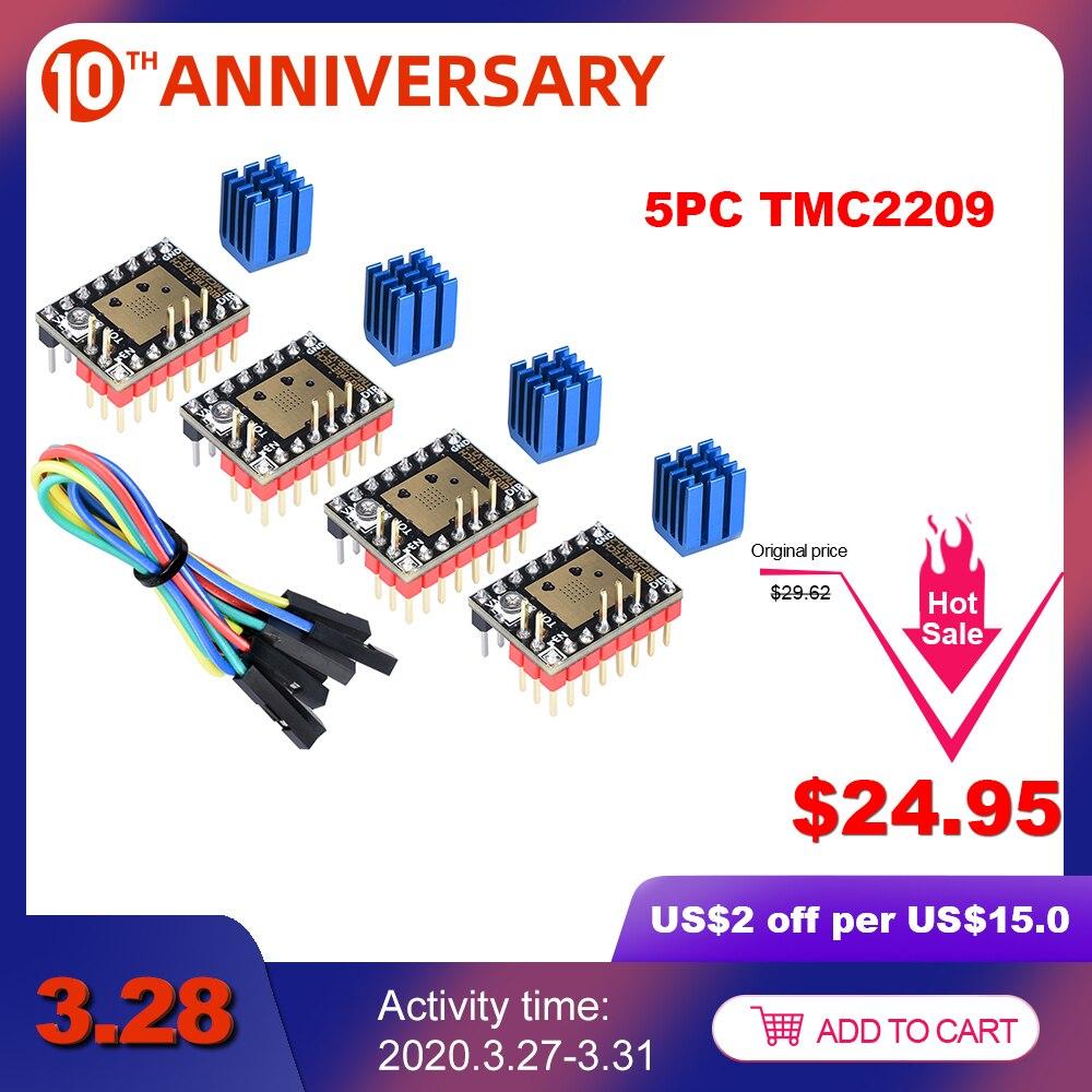 Bigtreetech TMC2209 V1.2 Stepper Motor Driver TMC2208 UART 2.8A 3D Printer Bagian TMC2130 TMC5160 untuk Skr V1.3 V1. 4 Mini E3