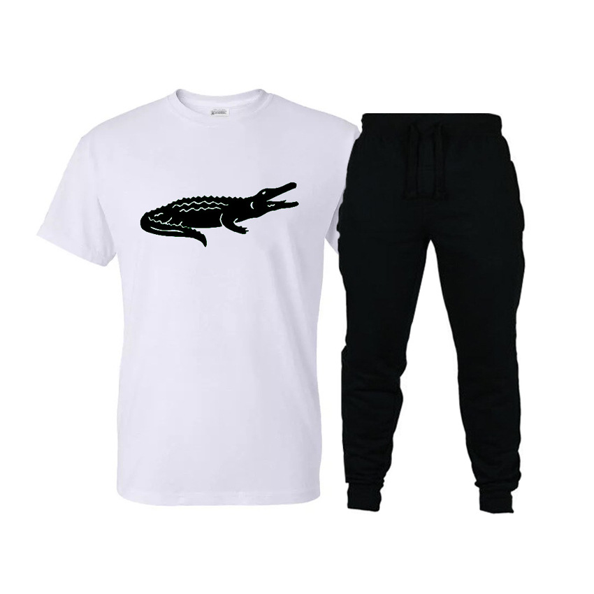 2019 New Style Leisure Suit Crocodile Cool Fashion Printing Short-sleeved T-shirt Sports Casual Trousers Set