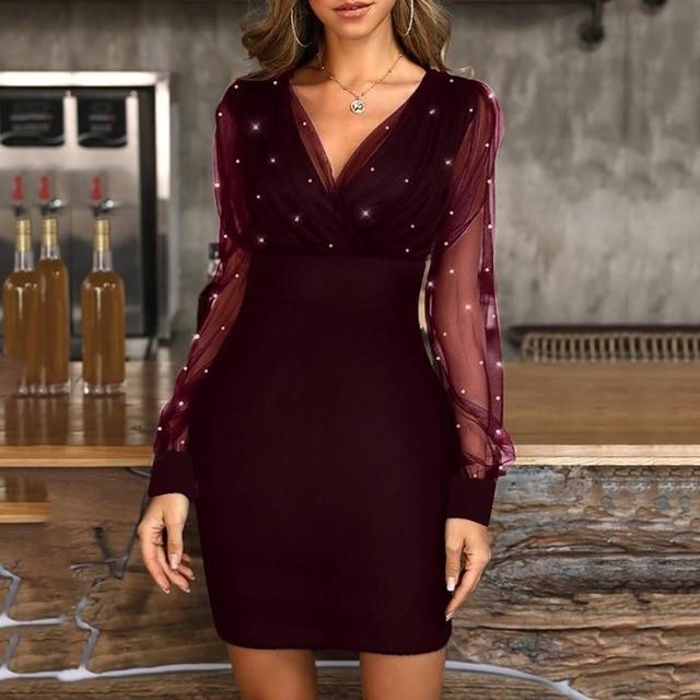 2021 платье сезон: весна–лето горяч-продавая нового из пряжи и тюля с v-образным вырезом блестящий тонкий ретро