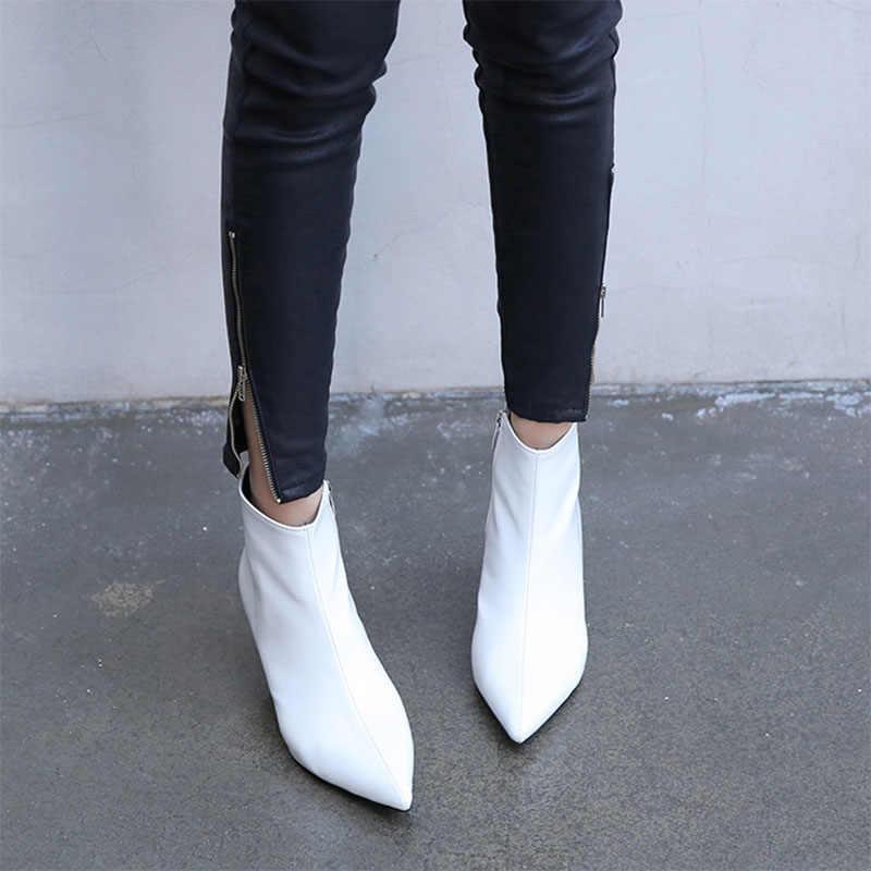 2018 herfst en winter nieuwe stijl met fijne wees hoge hakken Martin laarzen witte laarzen lederen laarzen vrouwen laarzen lente wedgie