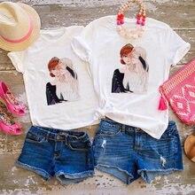 Для папы мамы дочери футболка летнее платье «Холодное сердце»