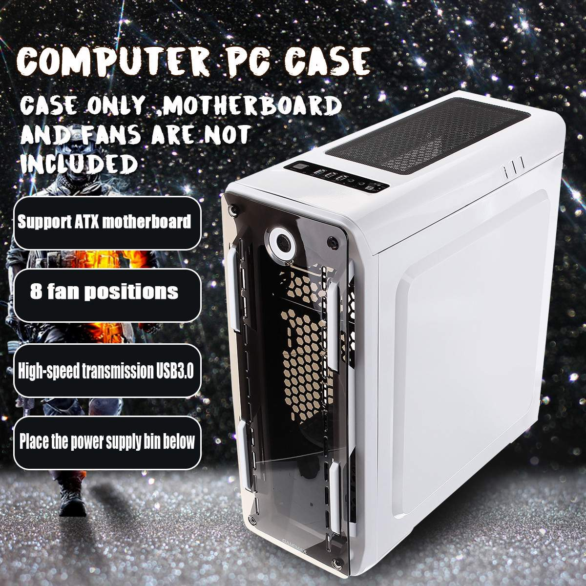 Upgraded Version Computer Case Support ATX/Micro ATX Motherboard USB3.0 PC Case Fast Heat Dissipation Can Turn 8 Fans image