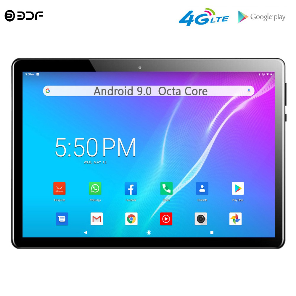 BDF New Arrivals 10 inch Tablets Android 9.0 Octa Core 4G LTE Phone Call 4G Dual SIM Google Market WiFi GPS Tablet Pc 10.1 inch image
