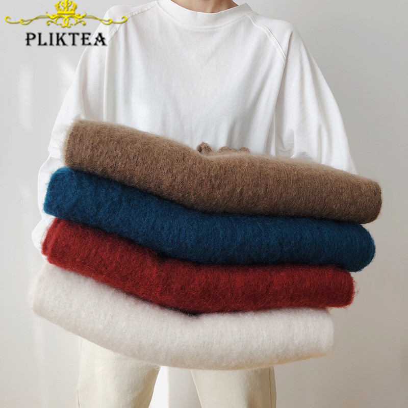 Special For You  Mohair Super Thick Winter Scarves Stole Red Women's Wool Shawl Beige Female Poncho Women Pashmina B