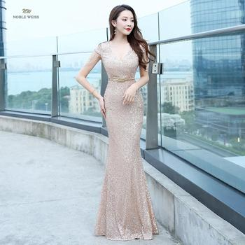 prom dresses sexy v-neck mermaid sequin dress floor-length gown robe de soiree party - discount item  51% OFF Special Occasion Dresses
