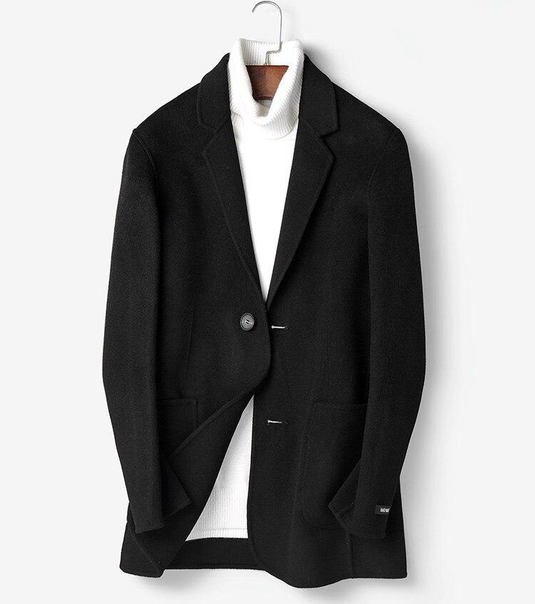 100% Wool Coat Autumn Winter Jacket Men Double-sided Woolen Coats Mens Streetwear Outwear Abrigo Hombre P-S8302Z MY1337