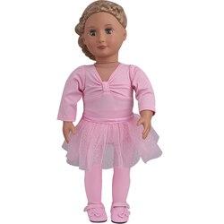 18 дюймов, Американская Одежда для кукол и девочек, розовая балетная Экипировка, гимнастическая одежда, платье для новорожденных, детские иг...