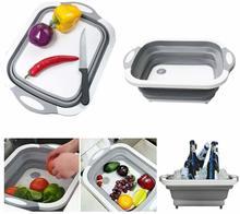 3in1 Sink Folding Chopping Cutting Board Dish Tub Fruit Vegetable Washing Drain Storage Basket Collapsible Colander Kitchen Tool