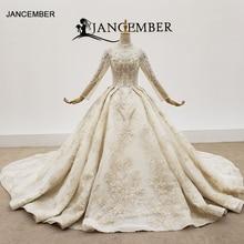 HTL1403 Hochzeit Kleid Ganze Mit Luxus Gold Applique Braut Kleid Langarm Hochzeit Kleid Spitze Up свадебное платье короткое