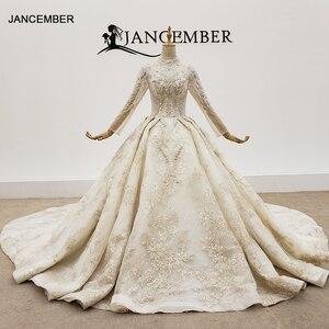 Image 1 - HTL1403 Hochzeit Kleid Ganze Mit Luxus Gold Applique Braut Kleid Langarm Hochzeit Kleid Spitze Up свадебное платье короткое