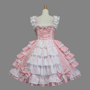 Image 2 - Classic Lolita Dress Womens Layered Cosplay Costume Cotton JSK Dress for Girl 10 Colors