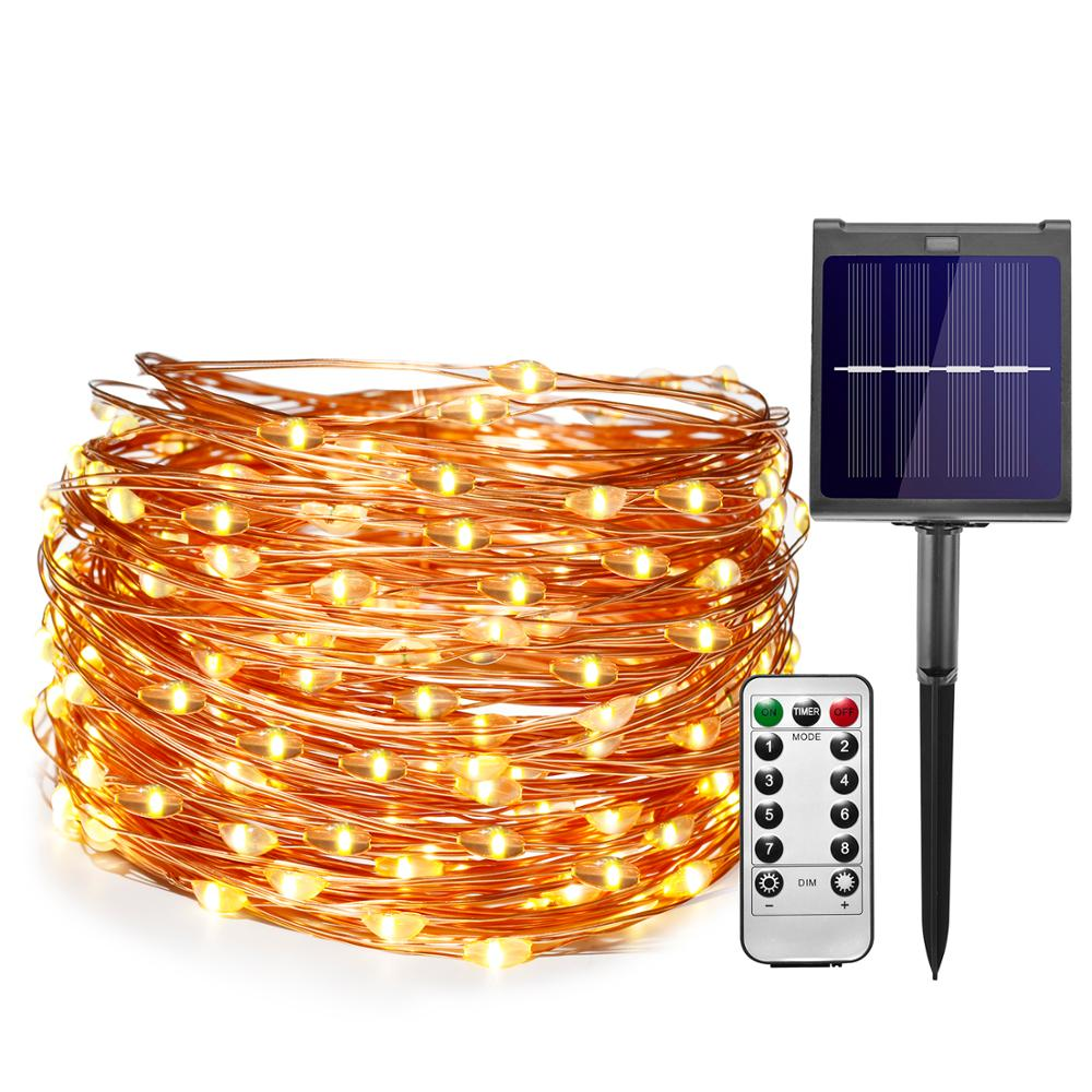 11m/21m Dimmable LED Outdoor Solar Light With 8mode Remote Control For Holiday Christmas Party Garland Solar Garden Light
