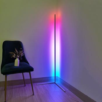 Nowoczesna lampa LED podłogowa RGB światło podłogowe kolorowe lampy podłogowe do salonu elegancki wygląd atmosfera oświetlenie wewnętrzne lampa narożna tanie i dobre opinie JAXLONG CN (pochodzenie) Nowoczesne Żarówki LED Z aluminium Malowane Corner floor lamp Z certyfikatem VDE Rohs NONE 90-260 v