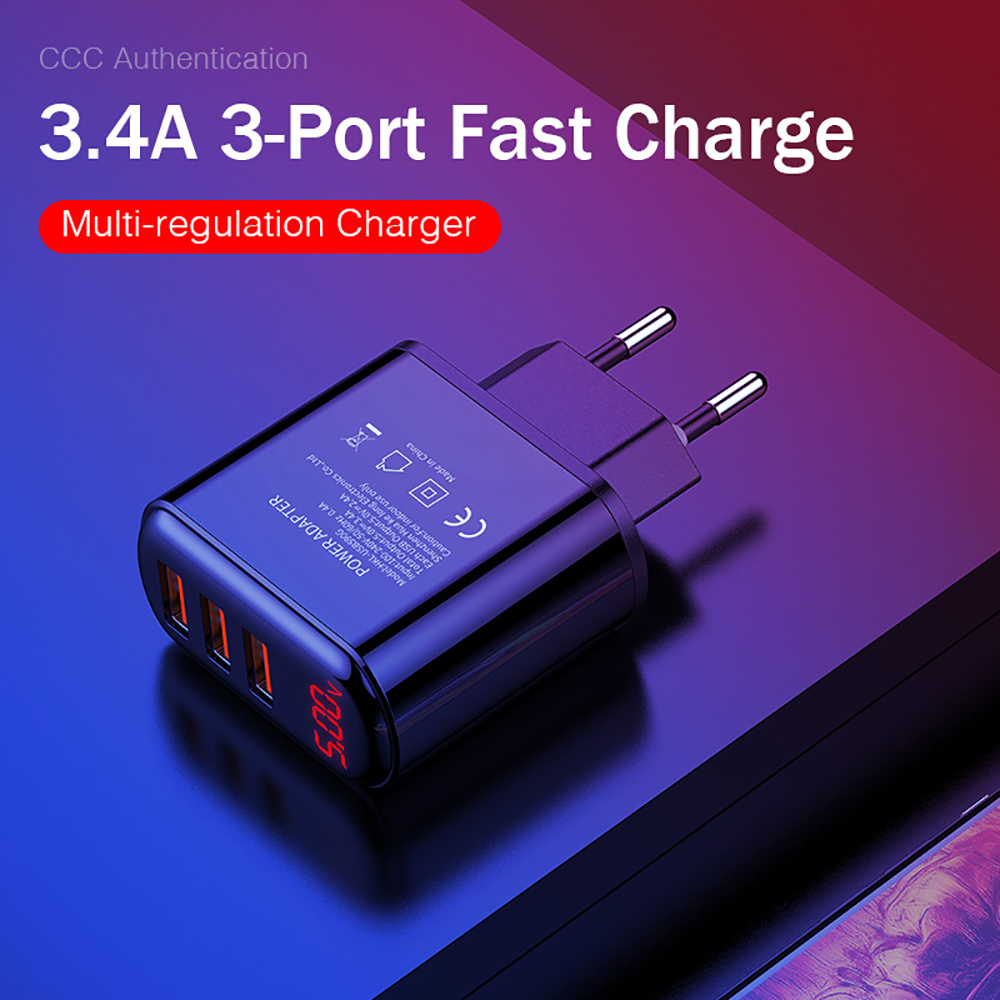 Ottwn 3 Ports USB Charger EU Plug LED Display 3.4A Fast Charging Smart Mobile Phone Charger For Iphone Samsung Xiaomi Tablet