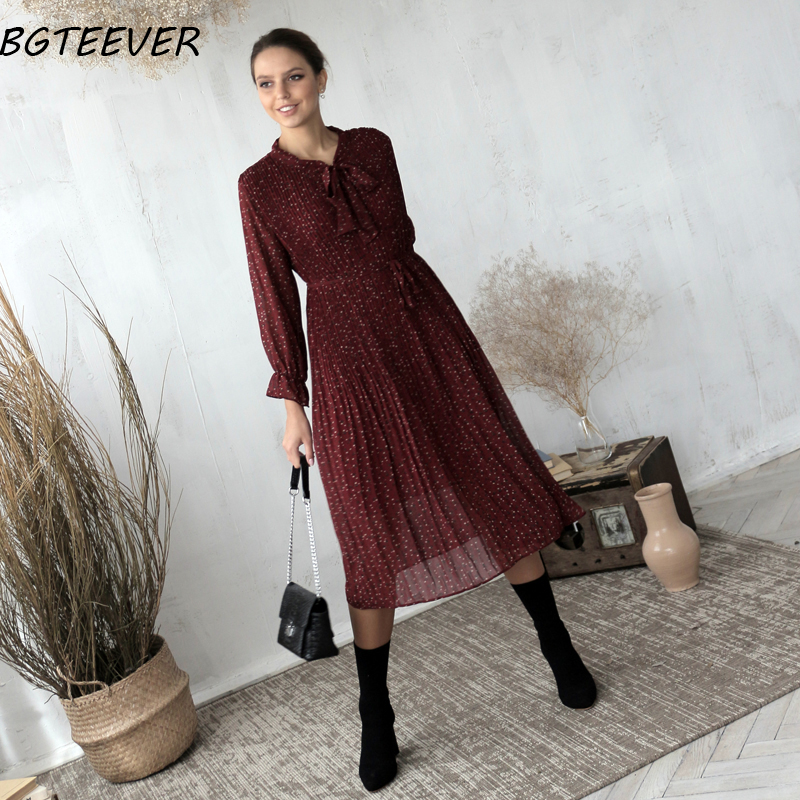 BGTEEVER Chic Bow Neck Plaid Dress Women 2020 Spring Flare Sleeve Lace-up Pleated Mid-calf Dress Female Chiffon Vestidos femme 4
