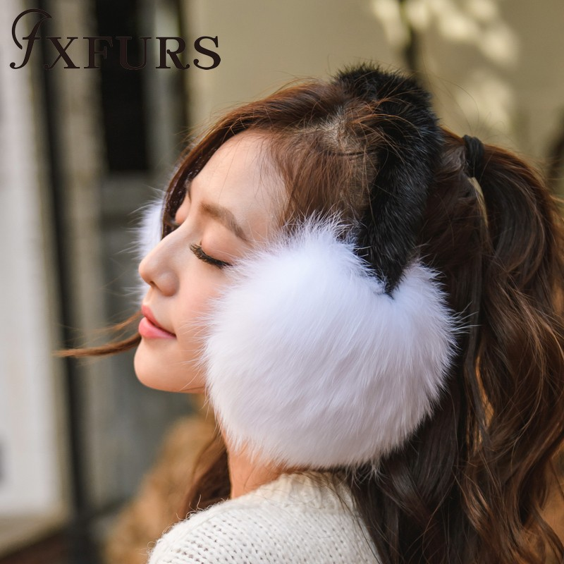 2019 New Fox Fur Earmuffs With Mink Fur Shelf Women Winter Warm Fur Earflaps