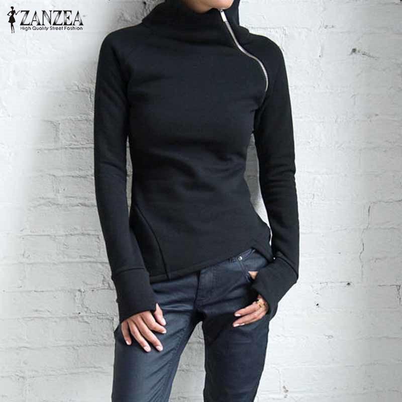 ZANZEA Women Sweatshirts Autumn Casual Turtleneck Long Sleeve Zippers Blusas Pullovers Plus Size Solid Hoodies Tops 2020