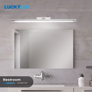 LUCKYELD Led Wall Light Bathroom Mirror Vanity Light Fixtures 8W 12W AC220V 110V Led Wall Lamp Waterproof Sconce Silver Shell