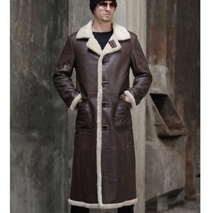 Image 4 - X Lange Echte Schafe Lammfell Jacke Echtpelz Futter Schafe Haut Mantel Männlichen Winter Warme Jacke Männer Pelz Hübscher lange Mantel