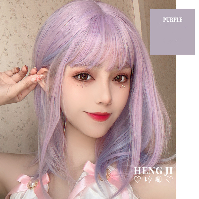 Image 4 - Uwowo Purple And pink Wig Staight Lolita Wigs Cosplay Wigs Heat Resistant Synthetic Hair Anime Party wigs Colourful hairAnime Costumes   -