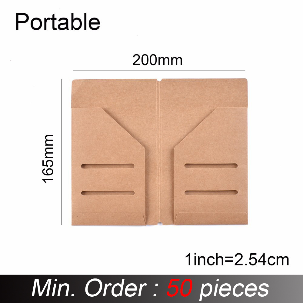 50 Pieces / Lot Portable Size 16x9.5cm Kraft Paper File Holder For Travel Journal Notebook Accessory Vintage Card Pocket