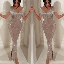 Women Gold Off Shoulder Tassel Bodycon Dress Sexy  Club 2019 Deep V Neck Fringe Party Sequin Clubwear