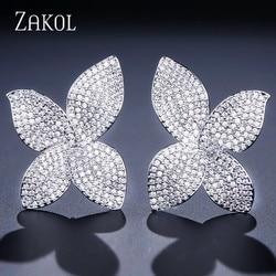 ZAKOL New Fashion Luxury Butterfly AAA Cubic Zirconia Micro Pave Setting Flower Big Stud Earrings for Women Party Gifts FSEP2078