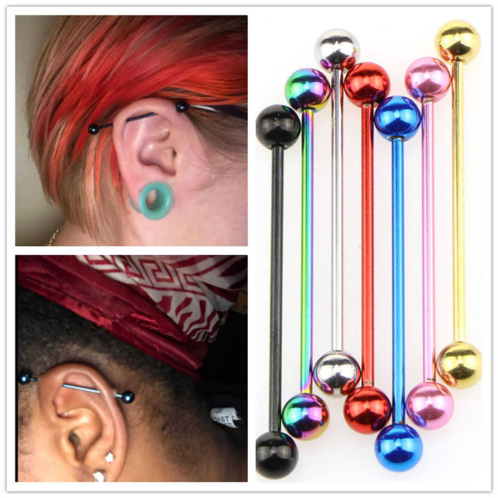 Trendy Charms Body Jewelry Long Straight Barbell Rings Colorful Ball Tragus Ear Nipple Lips nose Piercing Rings earrings Bar
