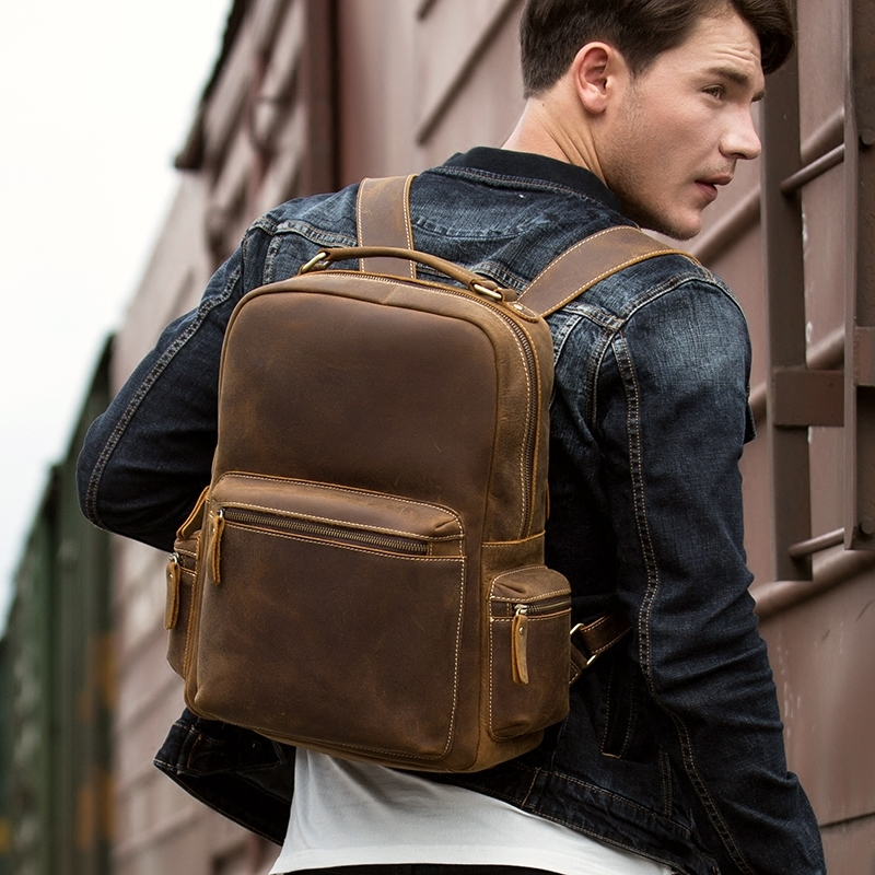 NEW Business Backpacks Crazy Horse Leather Backpack for 15.6 inch Laptop Vintage Men Travel Bags Quality Male Mochilas