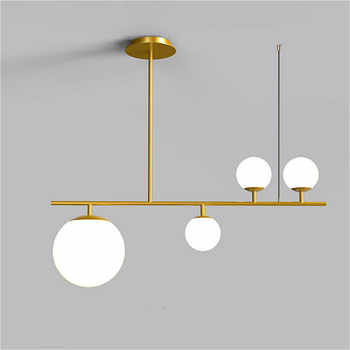 Modern simple frosted glass ball lampshade LED chandelier indoor lighting kitchen restaurant ceiling black gold pendant lights