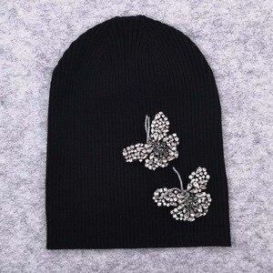 Image 3 - GZHilovingL Woman Butterfly Diamonds Beads Beanies Hats Soft Thin Wool Cotton Knitting Skullies Beanies Hats For Ladies Girls