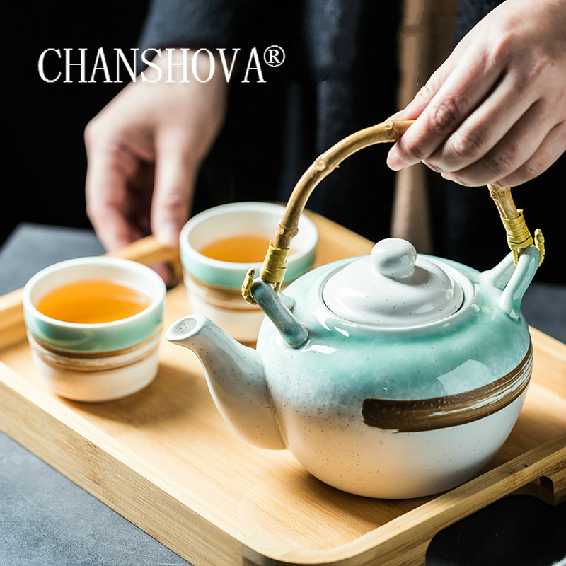 CHANSHOVA Traditional chinese retro style 700/900ml Ceramic teapot Bamboo handle kettle container tea set China porcelain H281|Teapots| - AliExpress