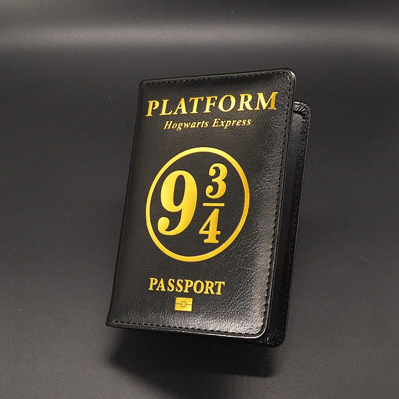 Hogwarts School Passport Cover Women Black Pu Leather Potter Passport Case Travel Wallet Document Orgainzer Porta Pasaporte