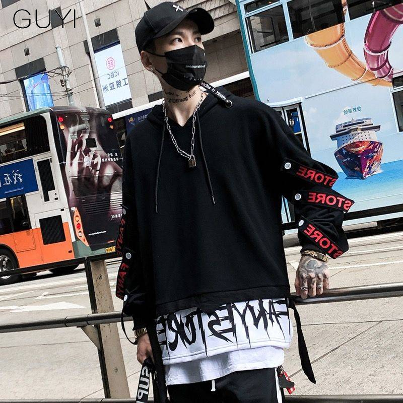 Letter Ribbons Hip Hop Men Hoodie Sweatshirts Streetwear Hooded Hoody Men Black Red Fake Two Pieces Autumn Winter Male Pullover