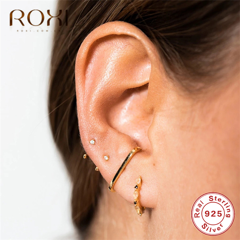 ROXI 100% 925 Sterling Silver Simple Geometric Stud Earrings For Women Rainbow CZ C Shape Ladies Earring Minimalist Jewelry Gift