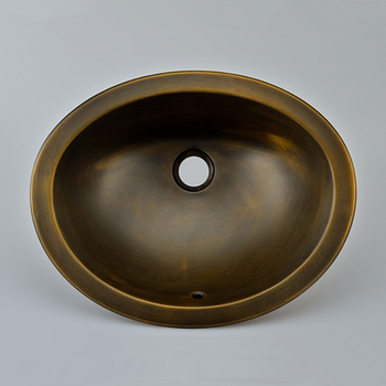 Antique bronze basin oval Retro above counter basin brushed brass basin sink classical copper  wash basin [haotian] bronze fast new chinese classical furniture of ming and qing antique copper copper locking plate door handle landscape