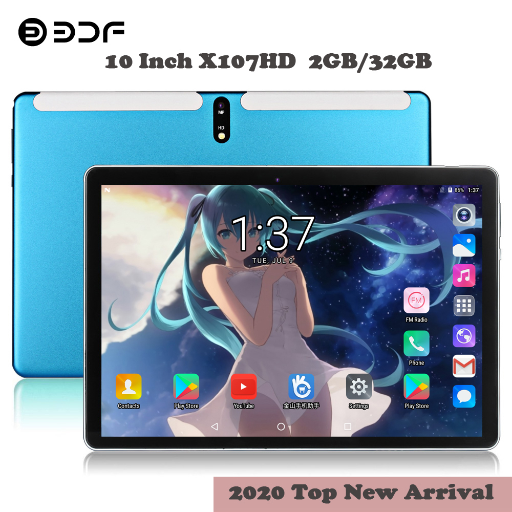 2020 New 10.1 Inch Tablet Pc Quad Core Android 7.0 Google Play 3G Call Tablets WiFi GPS 2.5D 1280*800 Tempered Glass 10 Inch Tab