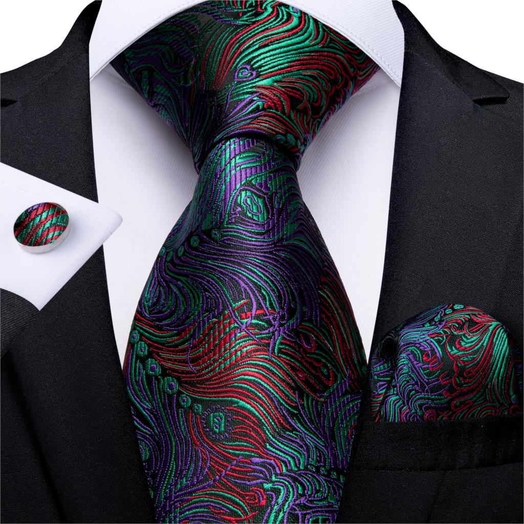 Gift Men Tie Red Green Purple Novelty Silk Wedding Tie For Men DiBanGu Designer Hanky Cufflinks Men Tie Set Business MJ-7302