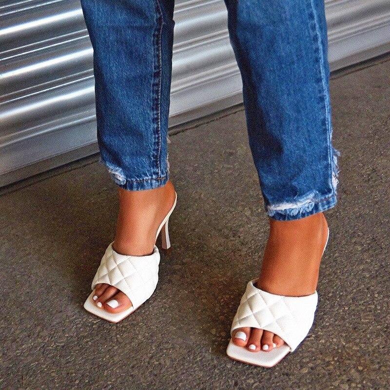 Vintage Square Toe Slipper Sandals Women Solid Gingham High Heel Women's Sandals Block Heel Ladies Shoes Women Sandals 35-43