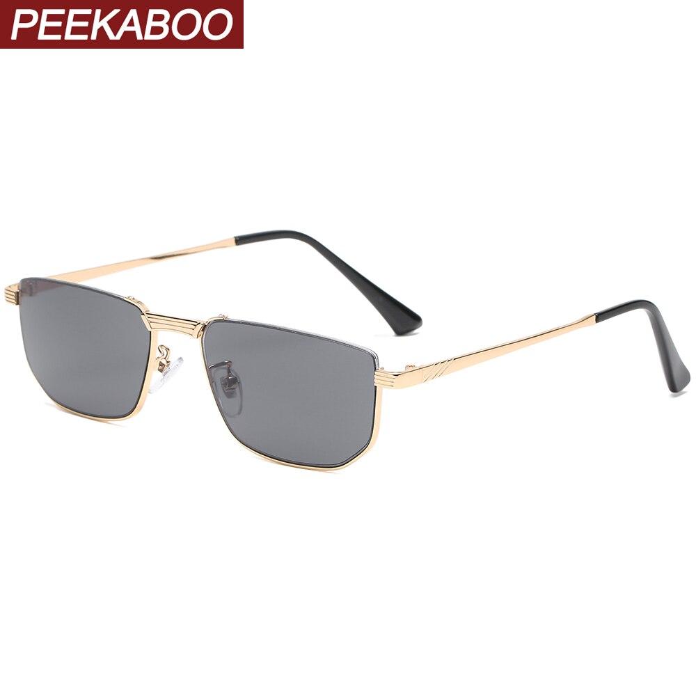 Peekaboo gafas de sol con media montura para los hombres de metal retro Plaza lentes de sol para dama semi-sin montura uv400 oro marrón gran oferta