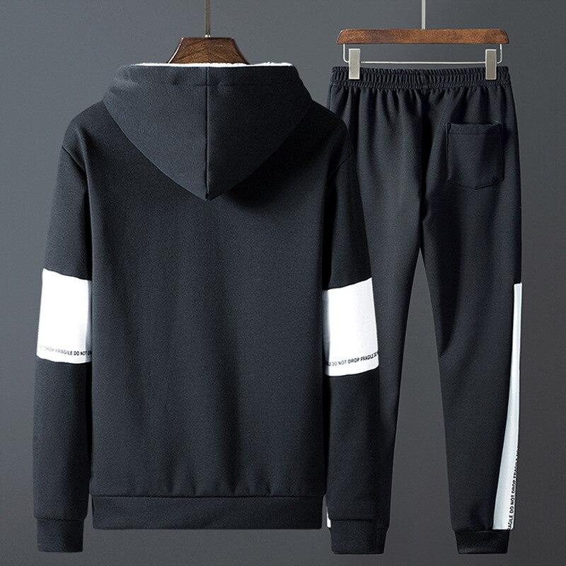 Patchwork cálido traje deportivo hombre interior de lana dos piezas conjuntos con capucha sudaderas con capucha pantalones de chándal FItness ropa de entrenamiento ropa deportiva hombres - 4