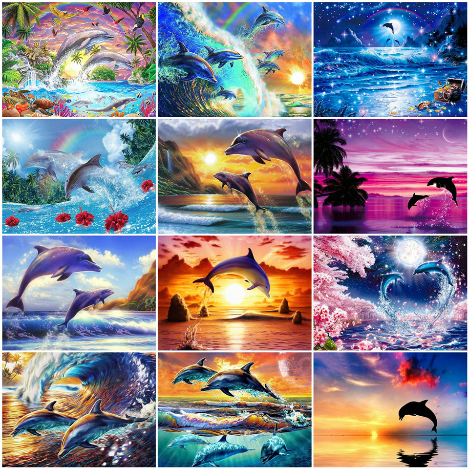 AZQSD DIY Oil Painting By Numbers Animal Acrylic Paint Canvas Painting Kits Coloring By Numbers Dolphin Unframe Gome Decoration
