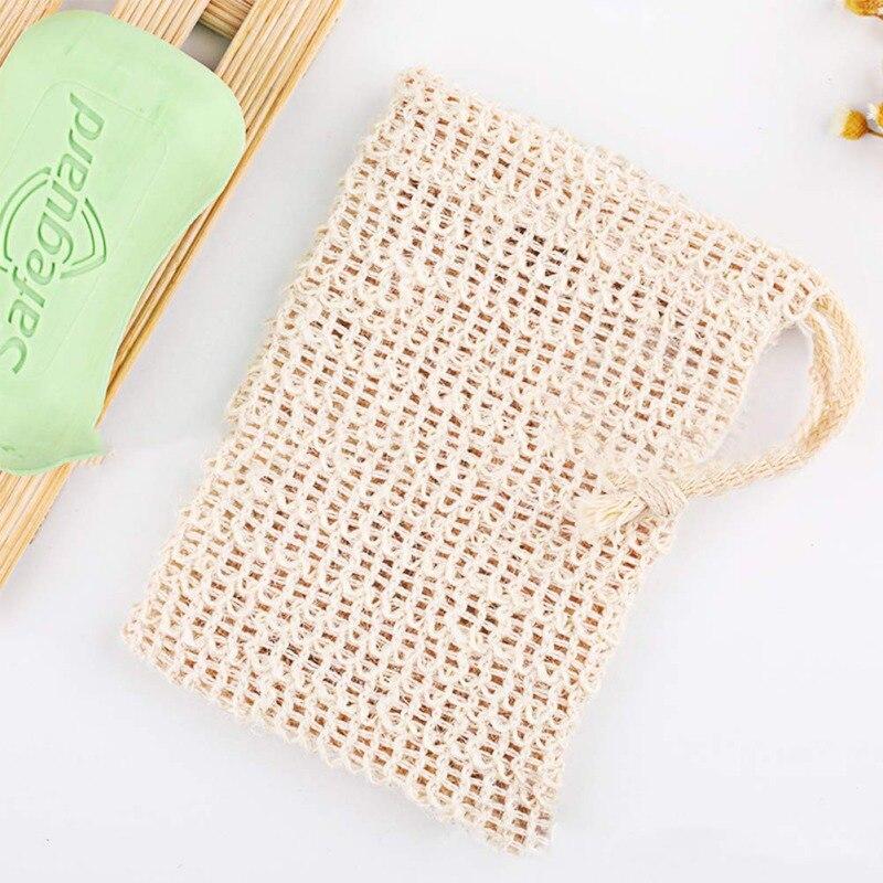Natural Portable Soap Saver Bag Soft Foaming Massage Exfoliating Cleansers Bag Cotton And Linen Soap Storage Bag