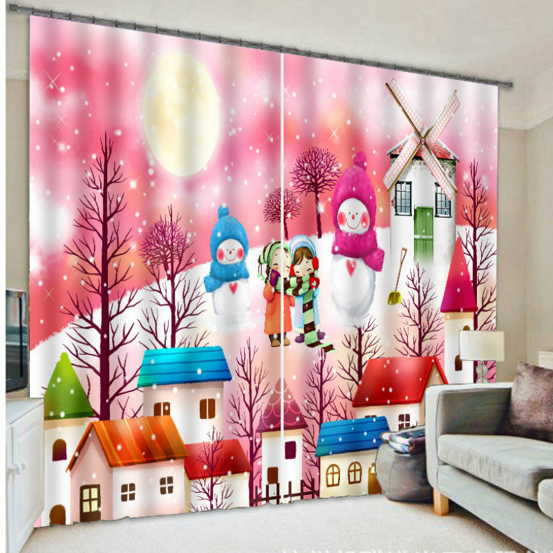 Creative Blackout Curtains For Living Room Bedroom Decorative Christmas Curtain With Snowman Thick Blinds Customized 3D Drapes