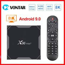 Vontar 8k smart tv box android 9.0 x96 max + amlogic s905x3 media player 4gb 64gb x96max mais tvbox conjunto caixa superior quadcore 5g wifi