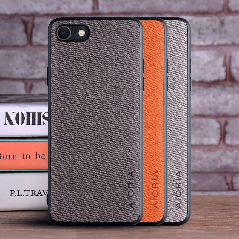 Case For Iphone SE 2020 Coque Luxury Textile Leather Skin Soft TPU Hard PC Phone Cover For Iphone Se 2020 Case Funda Capa